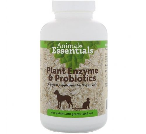 Animal Essentials, Растительные энзимы и пробиотики, Для собак и кошек, 10,6 унц. (300 г)