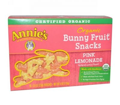 Annie's Homegrown, Organic Bunny Fruit Snack, Pink Lemonade, 5 Pouches, 0.8 oz (23 g)
