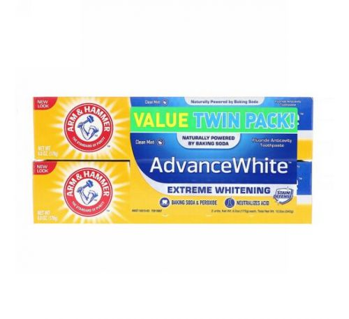 Arm & Hammer, Advance White, Extreme Whitening Toothpaste, Clean Mint, Twin Pack, 6.0 oz (170 g) Each
