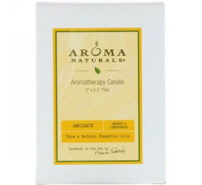 "Aroma Naturals, Aromatherapy Candle, Ambiance, Orange & Lemongrass, 3"" x 3.5"" Pillar"