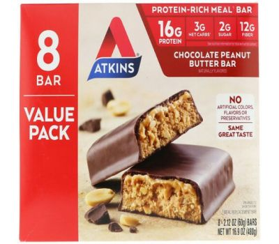 Atkins, Chocolate Peanut Butter Bar, 8 Bars, 2.12 oz (60 g)