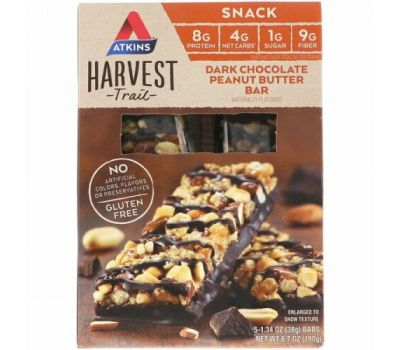 Atkins, Harvest Trail, Dark Chocolate Peanut Butter Bars, 5 packs, 1.34 oz (38 g) Each