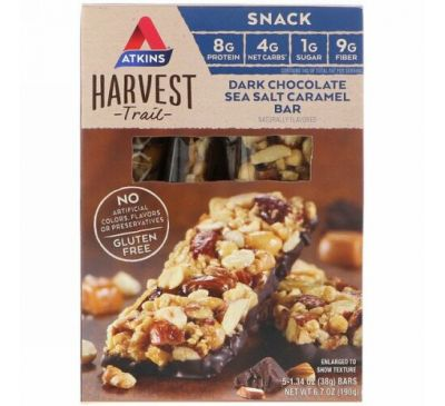 Atkins, Harvest Trail, Dark Chocolate Sea Salt Caramel Bar, 5 Bars, 1.34 oz (38 g) Each