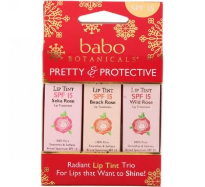 Babo Botanicals, Pretty & Protective, Lip Tint Conditioner Trio, SPF 15, 3 Pack, 0.15 oz (Each)