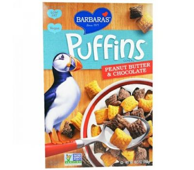 Barbara's Bakery, Puffins Cereal, арахисовое масло и шоколад, 10,5 унций (298 г)