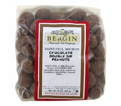 Bergin Fruit and Nut Company, Chocolate Double Dip Peanuts, 16 oz (454 g)