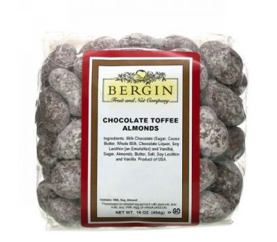 Bergin Fruit and Nut Company, Chocolate Toffee Almonds, 16 oz (454 g)
