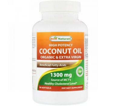 Best Naturals, High Potency Coconut Oil, Organic & Extra Virgin, 1,300 mg, 90 Softgels