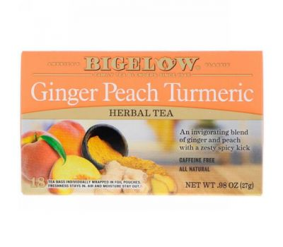Bigelow, Herbal Tea, Ginger Peach Turmeric, 18 Tea Bags, .98 oz (27 g)