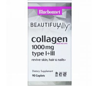 Bluebonnet Nutrition, Beautiful Ally, Collagen Type I+III, 1,000 mg, 90 Caplets