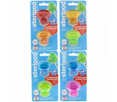 Bonfit America, Steripod, Toothbrush Protector, 4 Pack, 2 Multi Colors Each