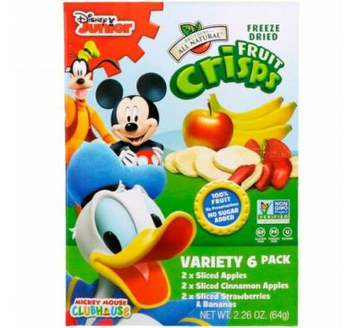 Brothers-All-Natural, Disney, Fruit-Crisps Variety Pack, Fuji Apple, Apple Cinnamon, Strawberry and Banana,  6 Single Serve Bags, 0.35 oz (10 g) Each