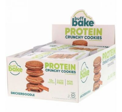 Buff Bake, Protein Crunchy Cookies, Snickerdoodle, 8 Cookie Packs, 1.79 oz (51 g) Each