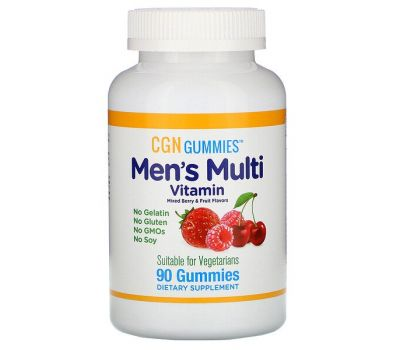 California Gold Nutrition, Men&#x2019-s Multi Vitamin Gummies, No Gelatin, No Gluten, Mixed Berry and Fruit Flavor, 90 Gummies