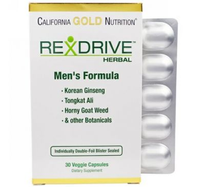 California Gold Nutrition, Rexdrive Herbal, формула для мужчин, 30 растительных капсул