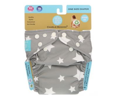 Charlie Banana, Reusable Diapering System, Grey, One Size Diaper, 1 Diaper