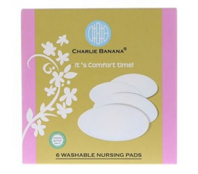 Charlie Banana, Washable Nursing Pads, Black, 6 Pads