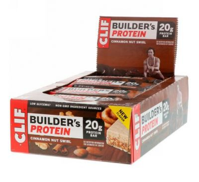 Clif Bar, Builder's Protein Bar, Cinnamon Nut Swirl, 12 Bars, 2.40 oz (68 g) Each