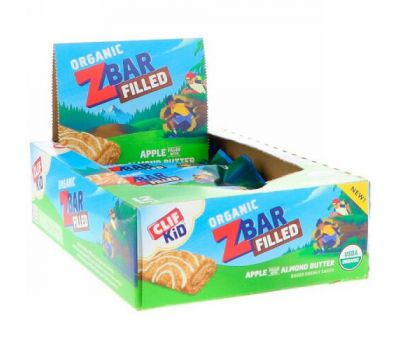 Clif Bar, Clif Kid, Organic ZBar Filled, Apple Filled with Almond Butter, 12 Bars, 1.06 oz (30 g) Each