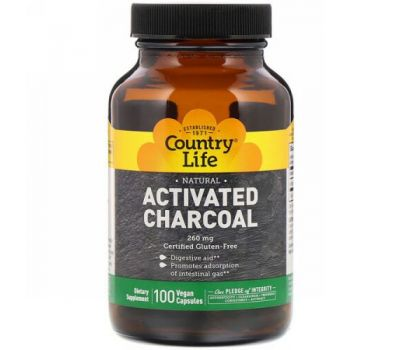 Country Life, Activated Charcoal, 260 mg, 100 Vegan Capsules
