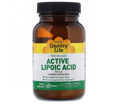 Country Life, Active Lipoic Acid, Time Release, 300 mg, 60 Tablets