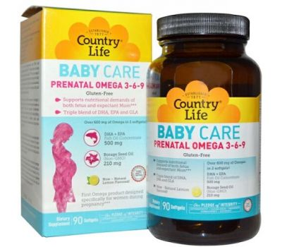 Country Life, Baby Care, Пренатальная Омега 3-6-9, лимон, 90 гелевых капсул