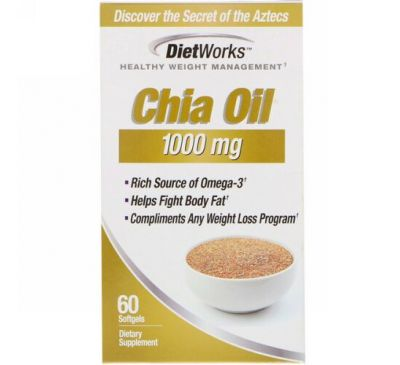 DietWorks, Chia Oil, 1,000 mg, 60 Softgels