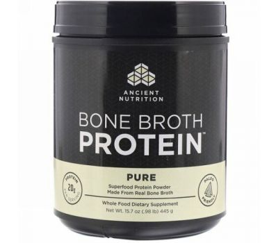 Dr. Axe / Ancient Nutrition, Bone Broth Protein, Pure, .98 lb (445 g)