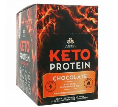 Dr. Axe / Ancient Nutrition, Keto Protein, кетогенное топливо, шоколад, 15 отдельных порционных пакетиков, 1,13 унц. (32 г) каждый
