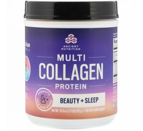 Dr. Axe / Ancient Nutrition, Multi Collagen Protein, Beauty + Sleep, Calming Natural Lavender, 1.17 lbs (535 g)