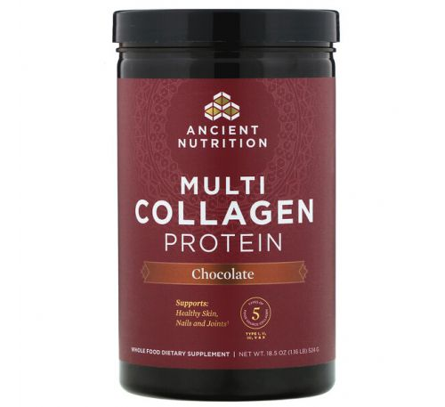 Dr. Axe / Ancient Nutrition, Multi Collagen Protein, Chocolate, 1.16 lb (524 g)