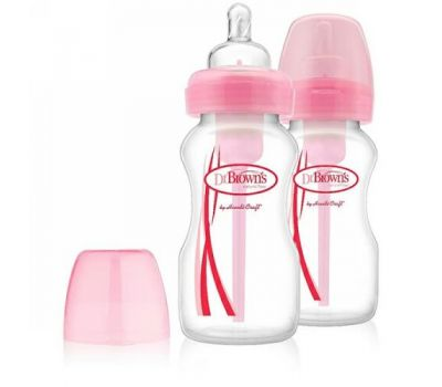 Dr. Brown's, Natural Flow, Options, Wide-Neck, Special Edition, Pink, 0 + Months, 2 Pack Bottles, 9 oz (270 ml) Each