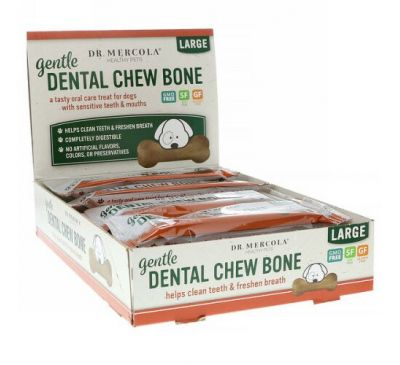 Dr. Mercola, Gentle Dental Chew Bone, Large, For Dogs, 12 Bones, 1.97 oz (56 g) Each