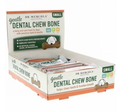 Dr. Mercola, Gentle Dental Chew Bone, Small, For Dogs, 12 Bones, 0.67 oz (19 g) Each