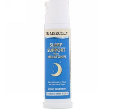 Dr. Mercola, Sleep Support with Melatonin, Raspberry Flavor, 0.85 fl oz (25 ml)
