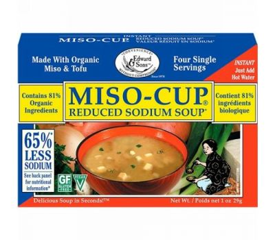 Edward & Sons, Edward & Sons, Miso-Cup, Reduced Sodium Soup, 4 Single Serving Envelopes, 7.2 g Each