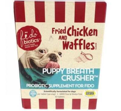 Fidobiotics, Fried Chicken And Waffles, Puppy Breath Crusher, Probiotic Supplement For Fido, 500 Million CFUS, For Dogs, 50 Tablets