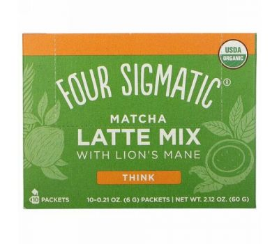 Four Sigmatic, Matcha Latte Mix with Lion's Mane, 10 Packets, 0.21 oz (6 g) Each