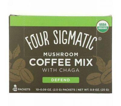 Four Sigmatic, Mushroom Coffee Mix with Chaga, 10 Packets, 0.09 oz (2.5 g) Each