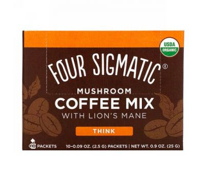 Four Sigmatic, Mushroom Coffee Mix with Lion's Mane, 10 Packets, 0.09 oz (2.5 g) Each
