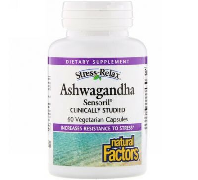 Natural Factors, Stress-Relax, Ashwagandha, Sensoril, 60 Vegetarian Capsules