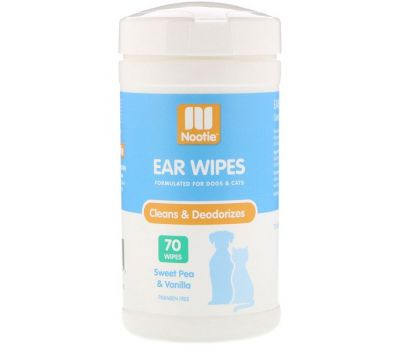 Nootie, Ear Wipes, Sweet Pea & Vanilla, 70 Wipes