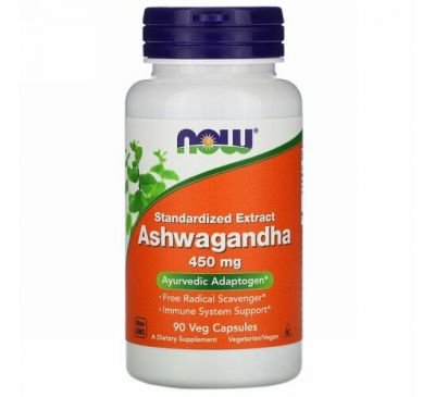 Now Foods, Ashwagandha, Standardized Extract, 450 mg, 90 Veg Capsules