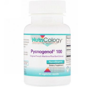 Nutricology, Pycnogenol 100 Original French Maritime Pine Bark Extract. 30 Vegetarian Capsules
