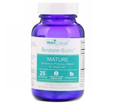 Nutricology, Restore-Biotic Mature, 25 Billion, 60 Delayed-Release Vegetarian Capsules
