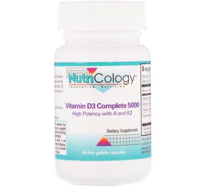 Nutricology, Vitamin D3 Complete 5000, 60 Fish Gelatin Capsules