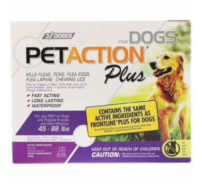 PetAction Plus, For Dogs, 45-88 lbs, 3 Doses - 0.091 fl oz (2.68 ml) Each