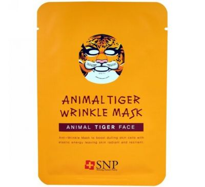 SNP, Animal Tiger Wrinkle Mask, 10 Sheets x (25 ml) Each