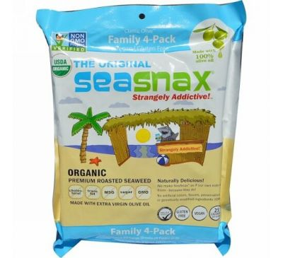 """SeaSnax, """"Classic"""" Olive, Roasted Seaweed Snack, Four Pack, 5 sheets (.54 oz) Each"""