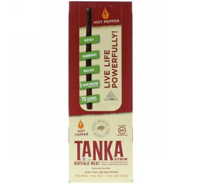 Tanka, Stick, Buffalo Meat with Cranberries and Pepper Blend , 24 Sticks, 1 oz (28.4 g) Each